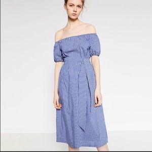 Zara Women's Blue/White Striped off-shoulder dress